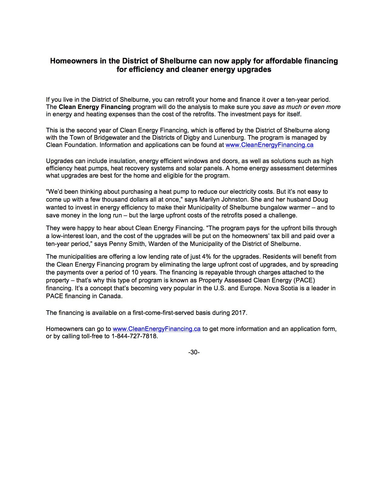 CEF Press Release Shelburne